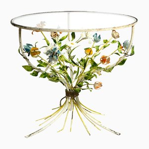 Mid-Century Italian Metal Floral Side Table with Round Glass Plate