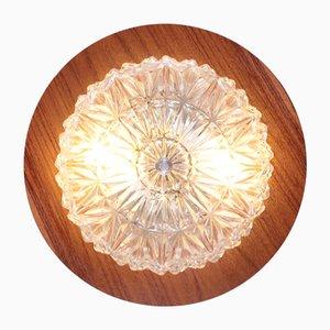 Vintage Deckenlampe aus Teak & Glas von Temde, 1960er
