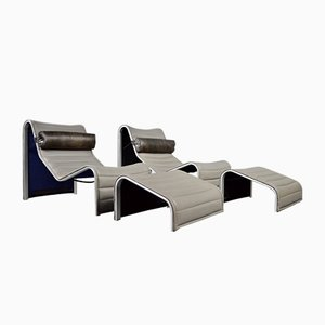 Lounge Chairs & Ottomans in Grey Leather, Set of 2