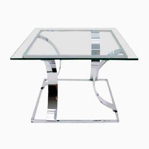 Square Chrome Coffee Table, 1970s, Italy