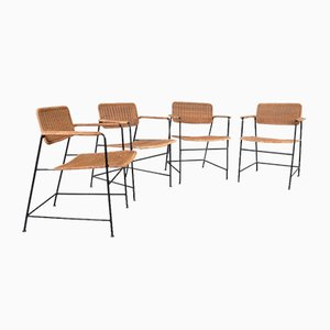 Dining Chairs with Wicker and Steel Frame, 1960s, Set of 4