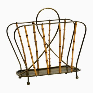 Mid-Century Modern Magazine Rack in Solid Brass and Bamboo Sticks