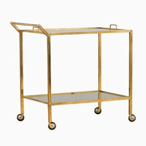 Mid-Century Italian Brass Bar Cart with Portable Tray, 1960s