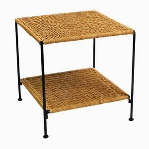 Square Metal Side Table with Cord Braid, Italy, 1960s