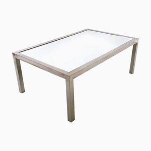 Stahl Couchtisch mit verspiegelter Tischplatte im Stil von Nanda Vigo, Italien, 1970er