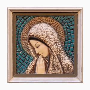 Ceramic Madonna with Wooden Frame