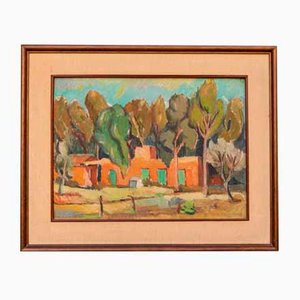 Oil Painting with Lacquered Wood Frame by Renato Benaglia, 1963