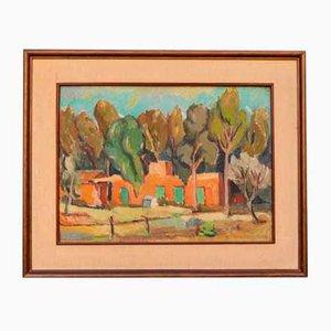 Peinture à l'Huile avec Cadre en Bois Laqué par Renato Benaglia, 1963