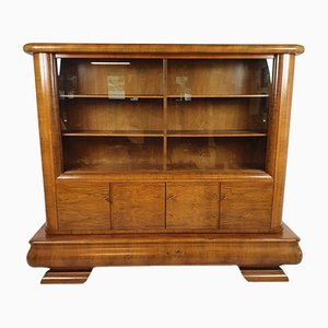 Large Art Deco French Walnut Cabinet, 1930s