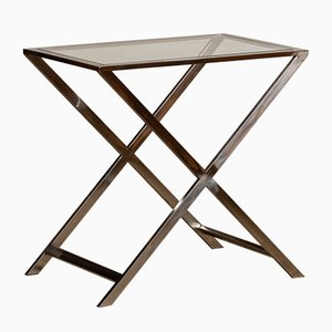 Side Table with Glass Top & X or Cross Legs in the style of Milo Baughman