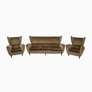 Mid-Century Modern High Back Sofa with Armchairs, 1950s, Set of 3