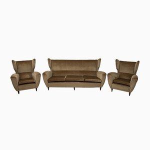 Mid-Century Modern Sofa mit Hoher Rückenlehne und Armlehnstühlen, 1950er, 3er Set