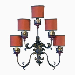 Italian Baroque Style Wall Lamp with Five Arms & Red Lampshades, 1950s