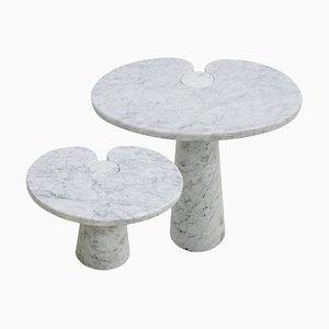 Italian Eros Carrara Marble Side Tables by Angelo Mangiarotti for Skipper, Set of 2