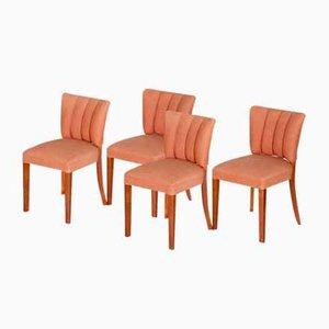 Art Deco Walnut Chairs, Czechoslovakia, 1920s, Set of 4