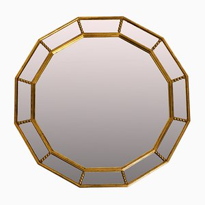 Italian 12-Sided Gold-Plated Wall Mirror with Facet Cut, 1960s