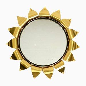 Round Mid-Century Brass Sunburst Wall Mirror