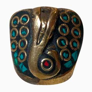 Vintage Incense Stick Holder in Bronze and Turquoise, India, 1970s