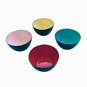 Scandinavian Enameled Steel Krenit Bowl Set by Herbert Krenchel for Torben Orskov, Denmark 1960s, Set of 4