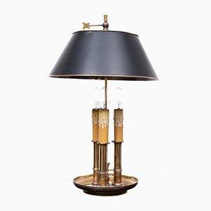 Französische Bouillotte Messing Tischlampe mit Drei Leuchten