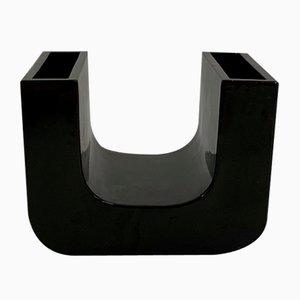 Black U Ceramic Vase by Pino Spagnolo for Sicart Italy, 1970s