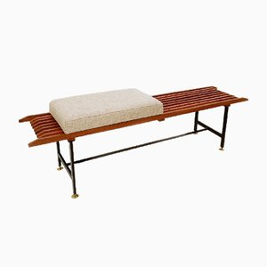 Slatted Bench in Wood, Metal & Brass, Italy