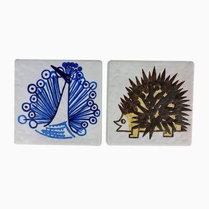 Ceramic Wall Plaques by S. Carlsson, 1970, Set of 2