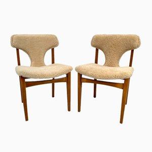 Schafsfell & Teak Esszimmerstühle von Elliots of Newbury, 2er Set