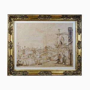 Sepia Aquarellato of Venetian Landscape, Late 19th Century