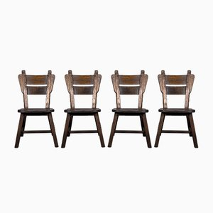 Oak Dining Chairs, 1960s, Set of 4