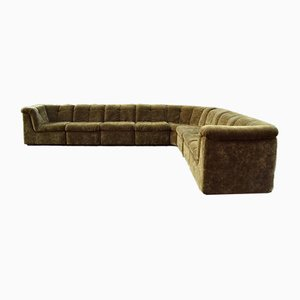 Vintage Moss Green Modular Sofa, 1970s, Set of 8