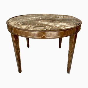 Circular Side Table in Wood with Lemongrass Marquetry Fillets