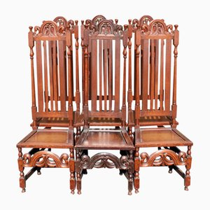 Carved High Back Oak Dining Chairs in Carolean Style, 1900s, Set of 6
