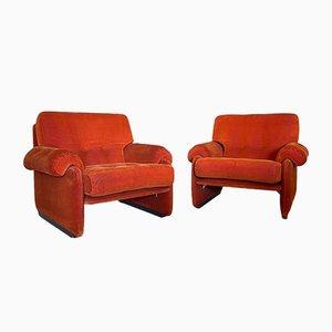 Armchairs in Velvet, 1970s, Set of 2