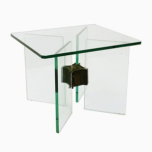 Glass & Brass Side Table by Peter Ghyczy, 1970s