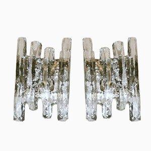 Austrian Ice Glass Wall Sconces by J.T. Kalmar, Set of 2