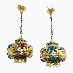 Moroccan Ceiling Lamps, 1970s, Set of 2