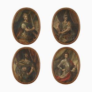 Portraits of Commander Kings, Tempera auf Leinwand, 18. Jahrhundert, 4er Set
