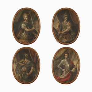 Portraits of Commander Kings, Tempera on Canvas, 18th Century, Set of 4