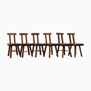Brutalist Solid Wood Chairs, 1950s, Set of 6