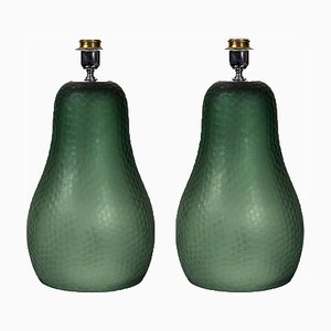 Olive Green Pear Shaped Battuto Table Lamps, Set of 2