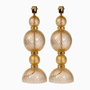 Table Lamps in Blown Murano Glass Clear and Gold, Set of 2
