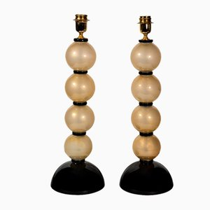 Murano Glass 4 Spheres Table Lamps, Set of 2
