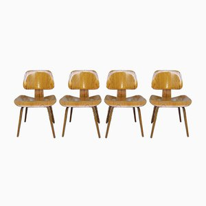 Ash DCW Chairs by Charles & Ray Eames for Evans / Herman Miller, 1940s, Set of 4