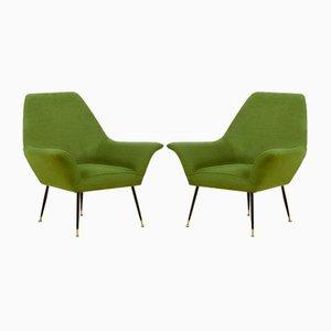 Italian Green Armchairs in the Style of Gigi Radice for Minotti, 1950s, Set of 2