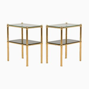 Italian Hollywood Regency Style Brass and Glass Nightstands or Side Tables, 1970s, Set of 2