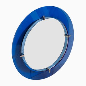 Round Mirror with Cobalt Blue Glass Frame Attributed to Max Ingrand for Fontana Arte, Italy, 1950s