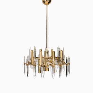 Large Mid-Century Italian Chandelier in Brass and Crystals by Gaetano Sciolari, 1960s or 1970s