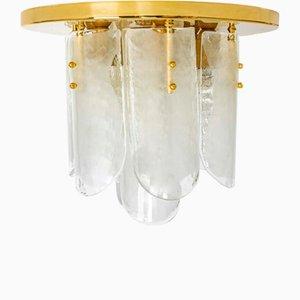 Brass & Murano Glass Light Fixture from Kalmar, Austria, 1970s