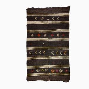 Mid-Century Turkish Minimalist Striped Kilim Rug with Folk Art Motifs, 1960s